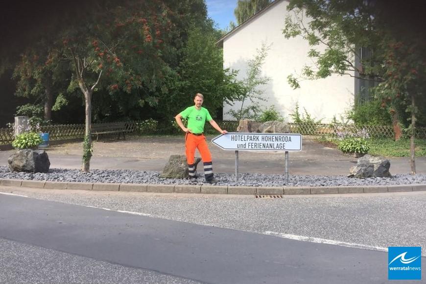 Neu gestalteter Kreuzungsbereich beim Dorfeingang in Ransbach